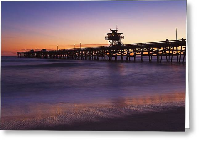 Clemente Greeting Cards - Municipal Pier At Sunset San Clemente Greeting Card by Richard Cummins
