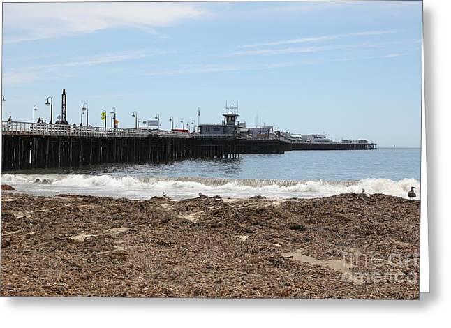 Santa Cruz Pier Photographs Greeting Cards - Municipal Wharf At The Santa Cruz Beach Boardwalk California 5D23769 Greeting Card by Wingsdomain Art and Photography