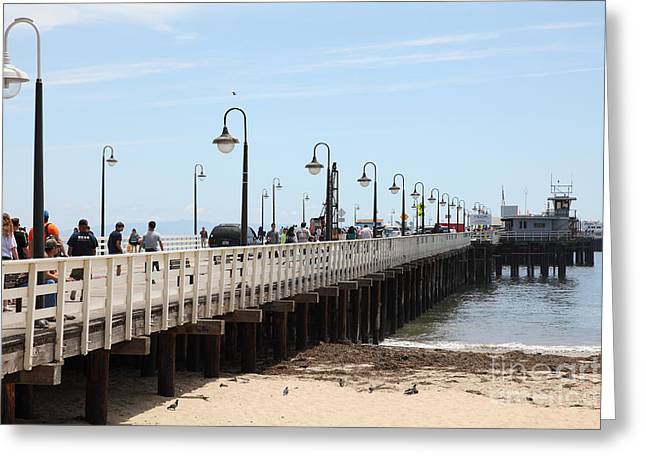 Santa Cruz Pier Greeting Cards - Municipal Wharf At The Santa Cruz Beach Boardwalk California 5D23773 Greeting Card by Wingsdomain Art and Photography