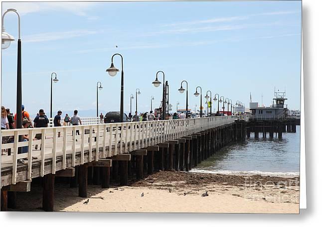 Santa Cruz Pier Photographs Greeting Cards - Municipal Wharf At The Santa Cruz Beach Boardwalk California 5D23773 Greeting Card by Wingsdomain Art and Photography
