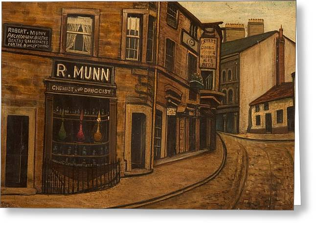Drugstore Greeting Cards - Munns Corner, 1890 Greeting Card by O
