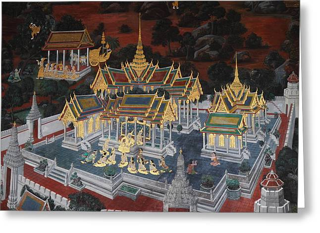Story Greeting Cards - Mural - Grand Palace in Bangkok Thailand - 01131 Greeting Card by DC Photographer