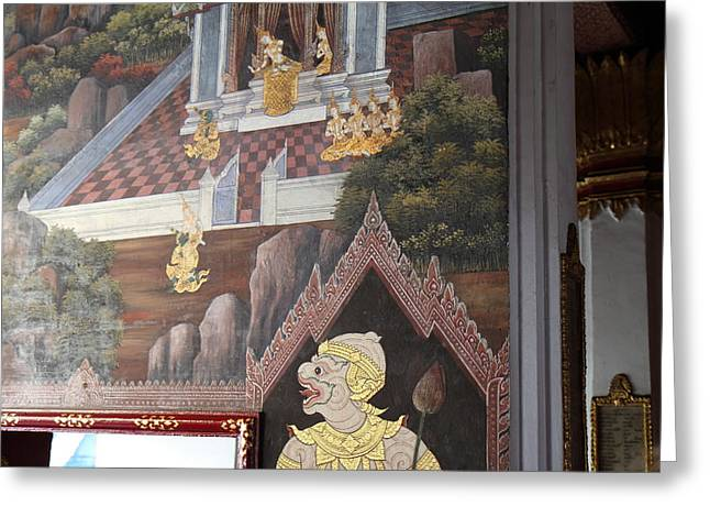 Murals Greeting Cards - Mural - Grand Palace in Bangkok Thailand - 01133 Greeting Card by DC Photographer