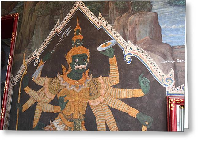 Mural - Grand Palace In Bangkok Thailand - 01134 Greeting Card by DC Photographer