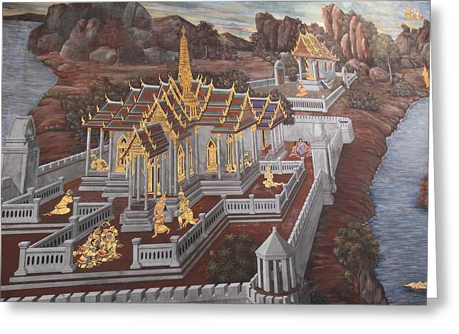 Mural - Grand Palace in Bangkok Thailand - 01135 Greeting Card by DC Photographer