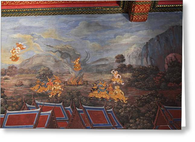 Mural Photographs Greeting Cards - Mural - Grand Palace in Bangkok Thailand - 01137 Greeting Card by DC Photographer
