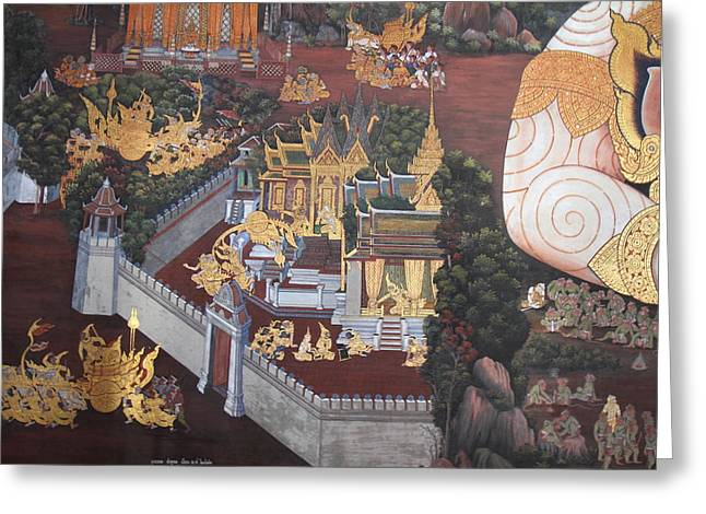 Mural Photographs Greeting Cards - Mural - Grand Palace in Bangkok Thailand - 01139 Greeting Card by DC Photographer