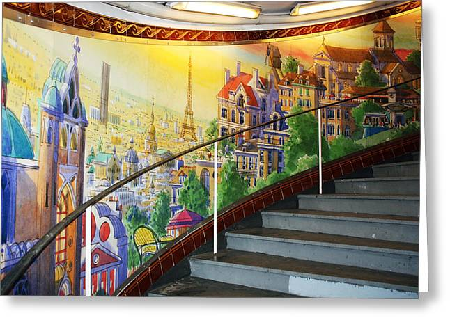 Mural In The Paris Metro Greeting Card by Kathy Yates