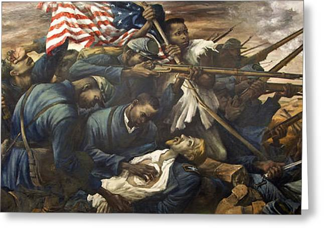 Civil Greeting Cards - Mural of the 54th Massachusetts and Colonel Shaw  Greeting Card by Mountain Dreams
