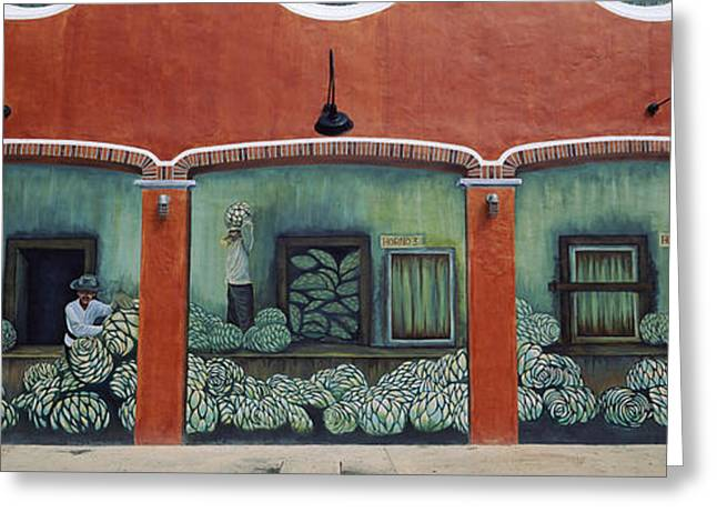 Male Likeness Greeting Cards - Mural On A Wall, Cancun, Yucatan, Mexico Greeting Card by Panoramic Images
