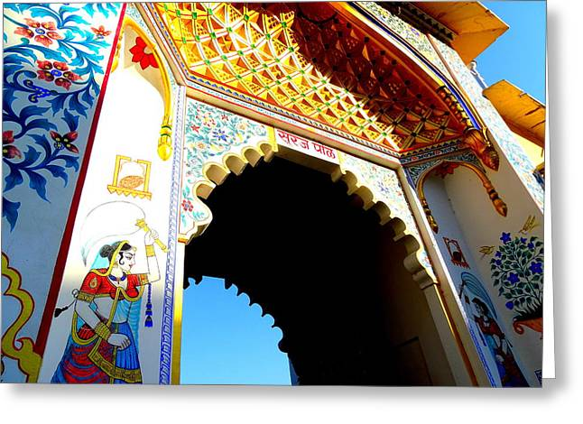 The Hills Greeting Cards - Mural Painted Archway Udaipur City Palace Rajasthan India Greeting Card by Sue Jacobi