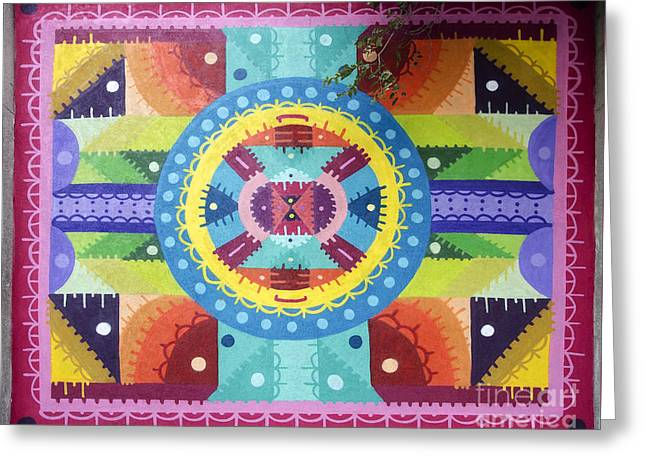 Geometric Art Greeting Cards - Mural painting by H101 Greeting Card by RicardMN Photography