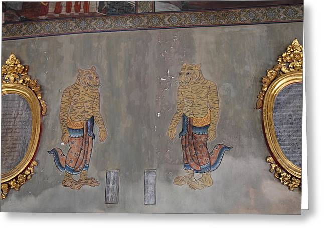 Murals Greeting Cards - Mural - Wat Pho - Bangkok Thailand - 01132 Greeting Card by DC Photographer