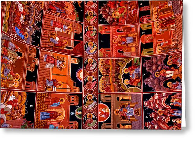 Dodecanese Greeting Cards - Murals in Church of Panagia Katholiki Greeting Card by Julia Fine Art And Photography