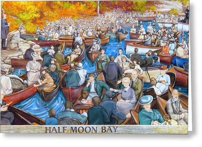 Half Moon Bay Greeting Cards - Murals of Half Moon Bay Gananoque in Thousand Islands Greeting Card by Lingfai Leung