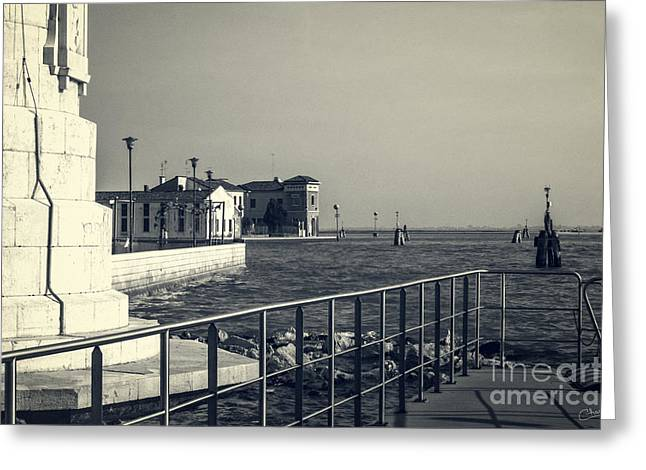 Wave Up Close Greeting Cards - Murano from the Dock Greeting Card by Prints of Italy