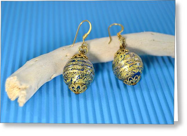 Gold Earrings Greeting Cards - Murano glass earrings with gold Greeting Card by Blanchi Costela