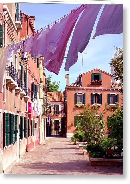 Red Buildings Greeting Cards - Murano Living Greeting Card by Valentino Visentini