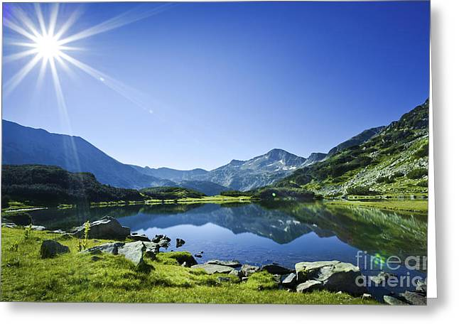 Reflections Of Sky In Water Greeting Cards - Muratov Lake Against Blue Sky Greeting Card by Evgeny Kuklev