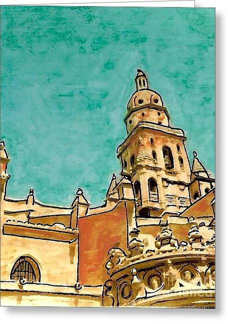 Europe Mixed Media Greeting Cards - Murcia Cathedral Greeting Card by Sarah Loft