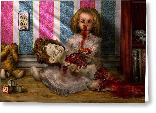 Creepy Digital Art Greeting Cards - Murder - Appetite for blood Greeting Card by Mike Savad