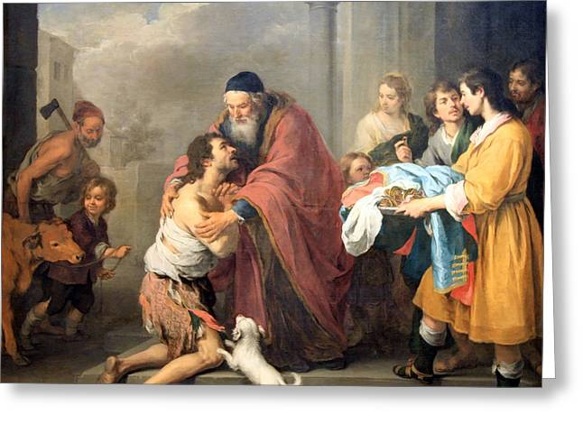 Bartolome Esteban Murillo Greeting Cards - Murillos The Return Of The Prodigal Son Greeting Card by Cora Wandel