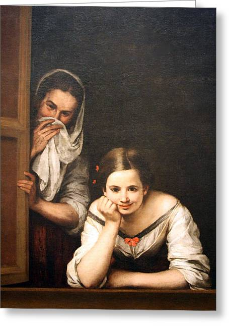 Cora Wandel Greeting Cards - Murillos Two Women At A Window Greeting Card by Cora Wandel