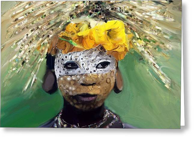 African-american Pastels Greeting Cards - Muris tribe africa Greeting Card by Vannetta Ferguson