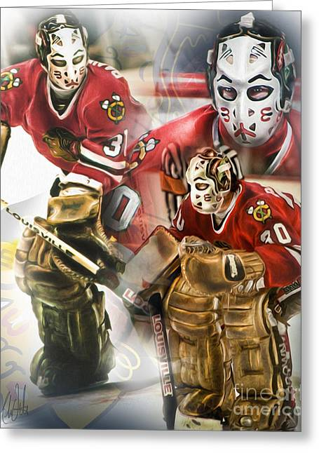 Hockey Net Greeting Cards - Murray Bannerman Greeting Card by Mike Oulton