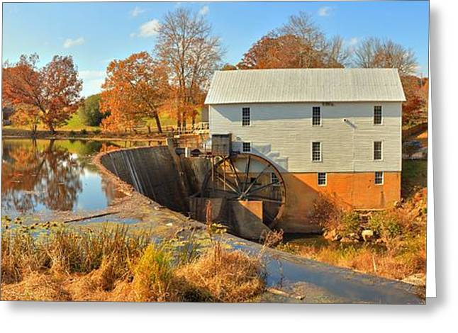 Grain Mill Greeting Cards - Murrays Grist Mill Panorama Greeting Card by Adam Jewell