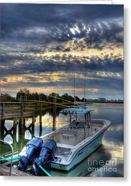 Fishing Creek Greeting Cards - Murrells Inlet Morning 4 Greeting Card by Mel Steinhauer