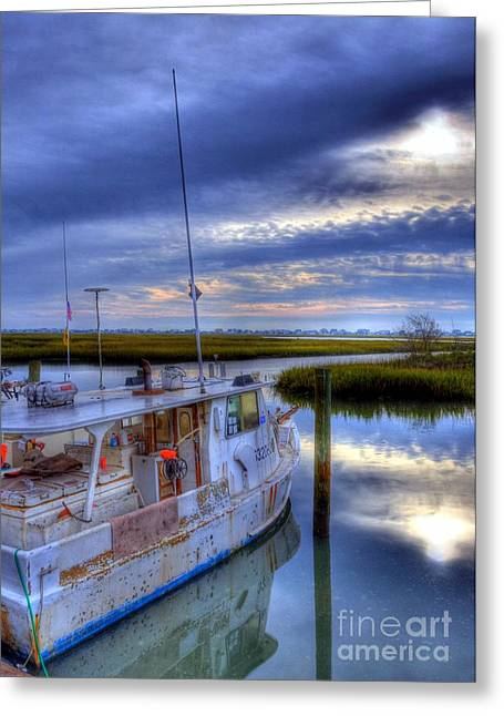 Fishing Creek Greeting Cards - Murrells Inlet Morning Greeting Card by Mel Steinhauer