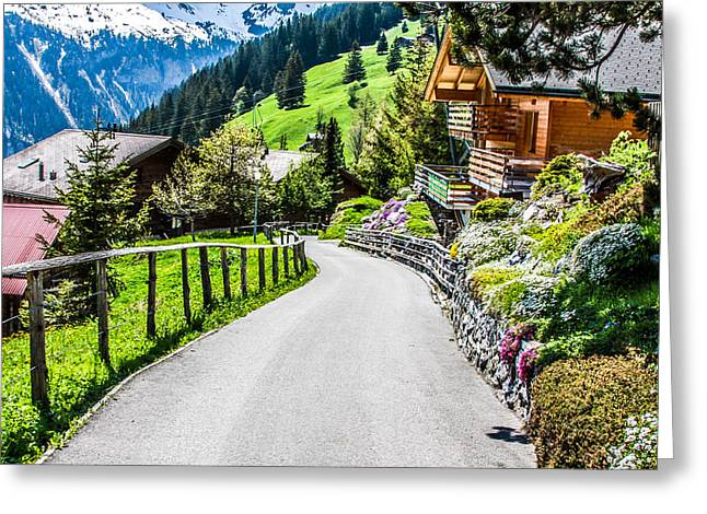 Murren Greeting Cards - Murren- Beautiful Mountain Village Greeting Card by Mehul Dave