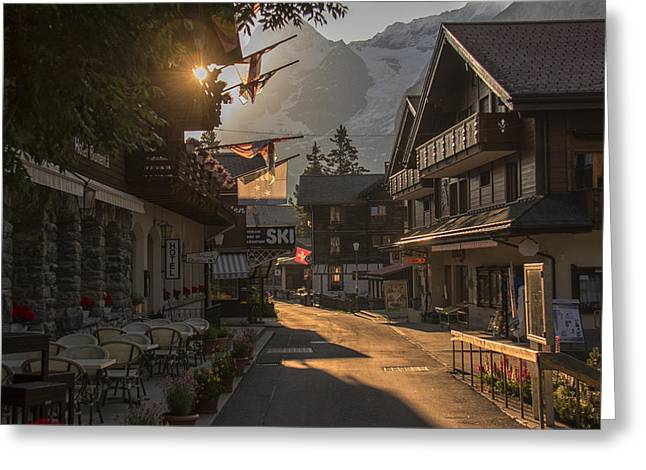 Murren Greeting Cards - Murren Dawn Greeting Card by Wade Aiken