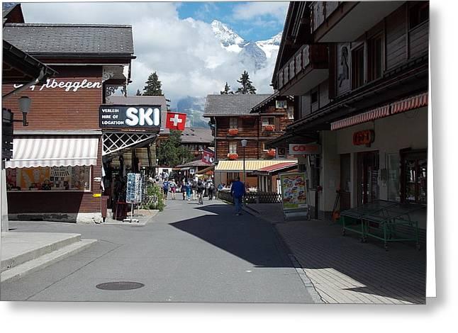 Murren Greeting Cards - Murren Switzerland Greeting Card by Nina Kindred
