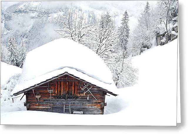 Murren Greeting Cards - Murren Winter Greeting Card by Doug Davidson