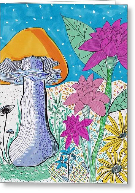 Nature Study Drawings Greeting Cards - Murshroom flowers and fields Greeting Card by Rosalina Bojadschijew