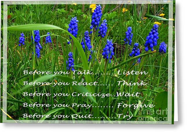 Criticize Greeting Cards - Muscari and Poem Greeting Card by Barbara Griffin