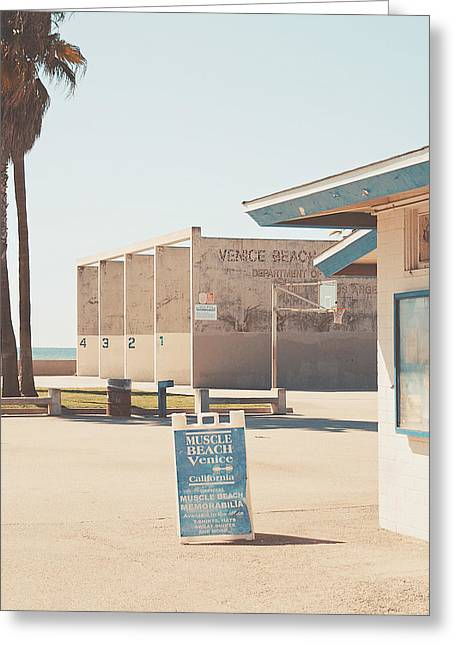 Venice Beach Palms Greeting Cards - Muscle beach Greeting Card by Nastasia Cook