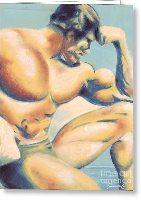 Sand Pastels Greeting Cards - Muscle Beach Greeting Card by Samantha Geernaert