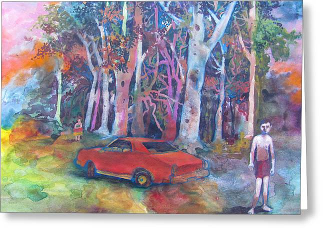 Indiana Landscapes Mixed Media Greeting Cards - Muscle Car Greeting Card by James Huntley