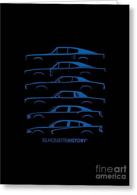 Family Car Greeting Cards - Muscle Charlie SilhouetteHistory Greeting Card by Gabor Vida