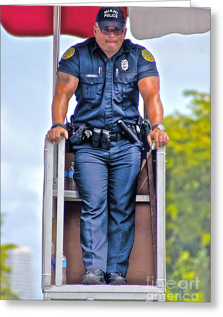 Muscleman Greeting Cards - Muscleman and Officer Greeting Card by Dieter  Lesche