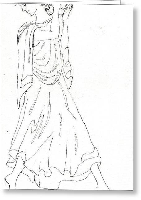 Ink Drawing Paintings Greeting Cards - Terpsichore Muse of Dance Greeting Card by Maria Hunt