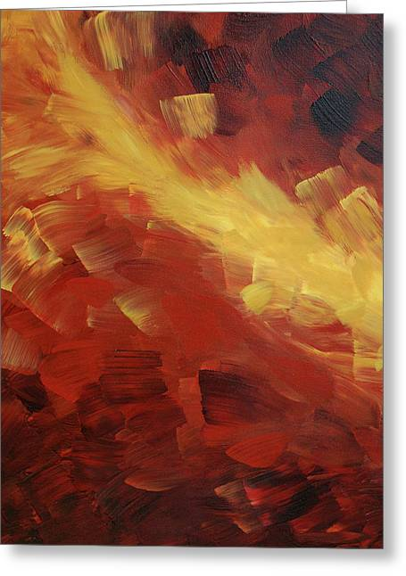 Brown Prints Greeting Cards - Muse In The Fire 1 Greeting Card by Sharon Cummings