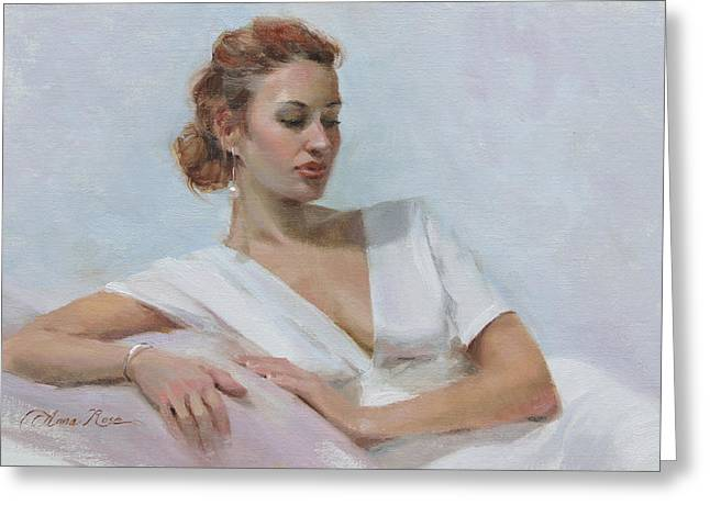 White Dress Paintings Greeting Cards - Muse in White Greeting Card by Anna Bain