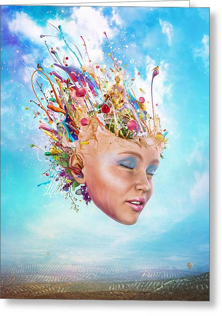 Portrait Digital Greeting Cards - Muse Greeting Card by Mario Sanchez Nevado