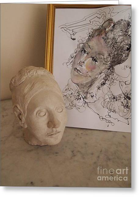 Bust Sculptures Greeting Cards - Muse Greeting Card by Nancy Kane Chapman