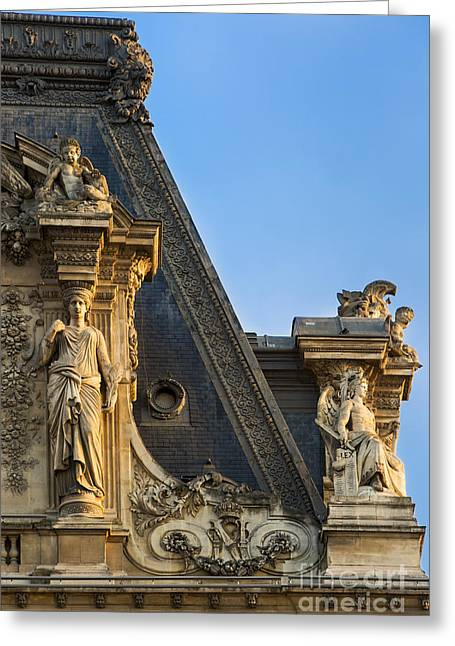 Caryatids Greeting Cards - Musee du Louvre Rooftop Greeting Card by Brian Jannsen