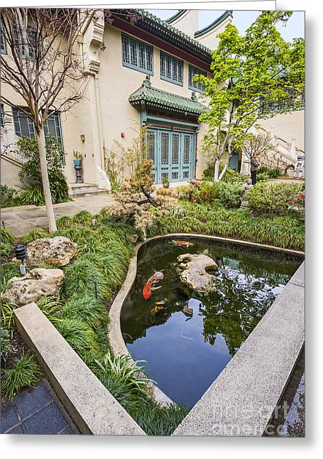 Usc Greeting Cards - Museum Koi - courtyard of the Pacific Asia Museum in Pasadena. Greeting Card by Jamie Pham